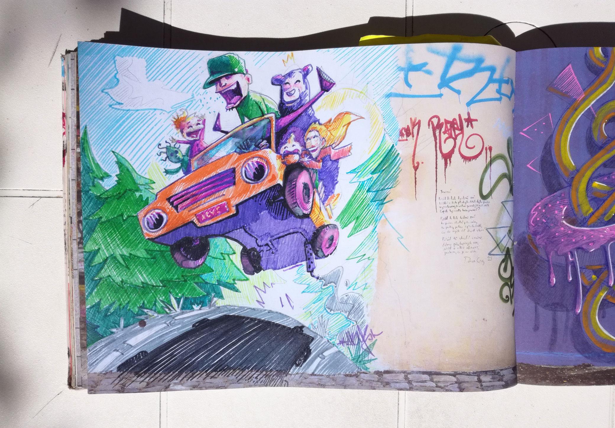 sketchbook - graffiti art - illustration - abys 2 fly - car - streetart