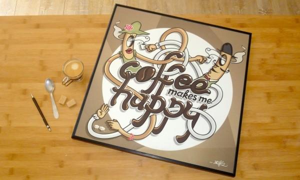 coffee makes me happy – illustration typographique
