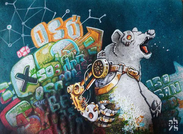 oso cyborg – peinture nature sauvage