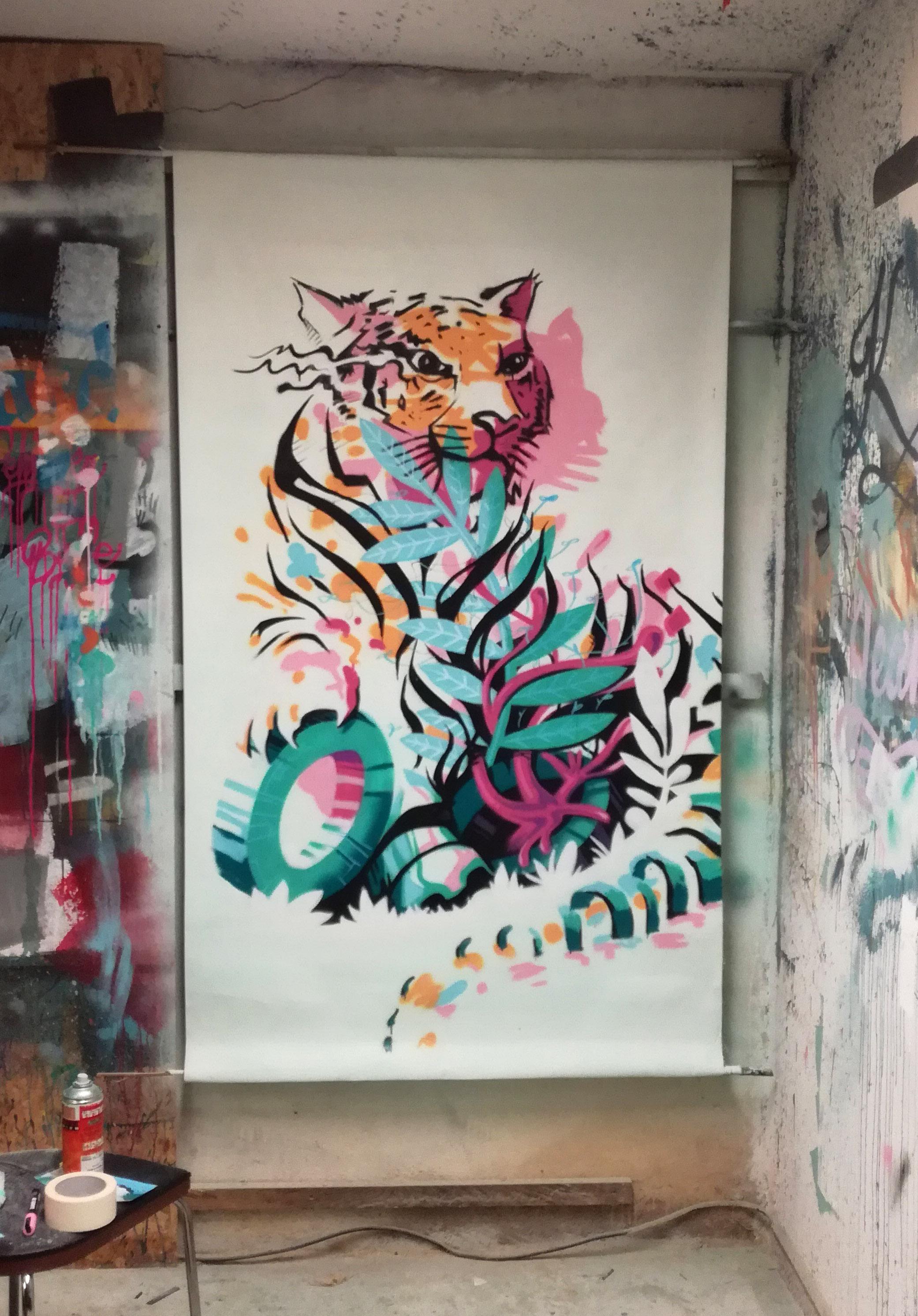 abys-illustration streetart - streetart-lyon tiger meta animals ebreed
