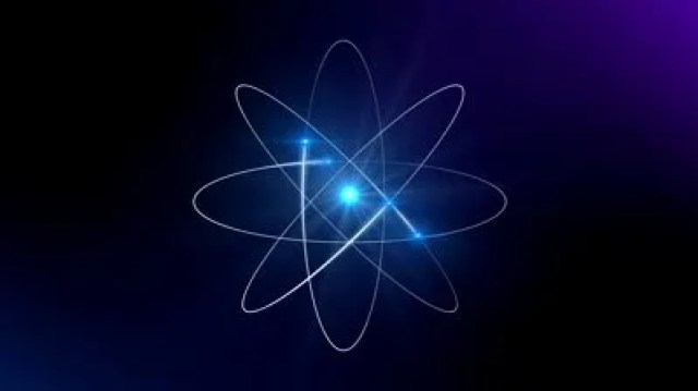 stock-footage-atom-with-degraded-blue-background