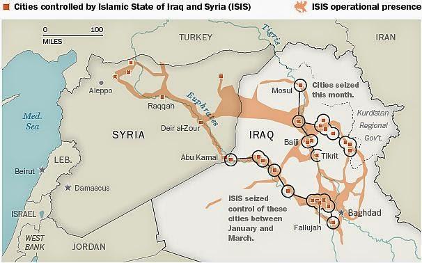 map of current status of Islamic State of Iraq and Syria