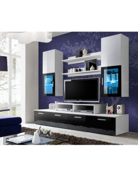 ensemble meuble tv mural mini 200 cm x 190 cm x 45 cm blanc et noir