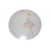 Horloge Ballerine - Pendule ronde rose en bois pour chambre d'enfant