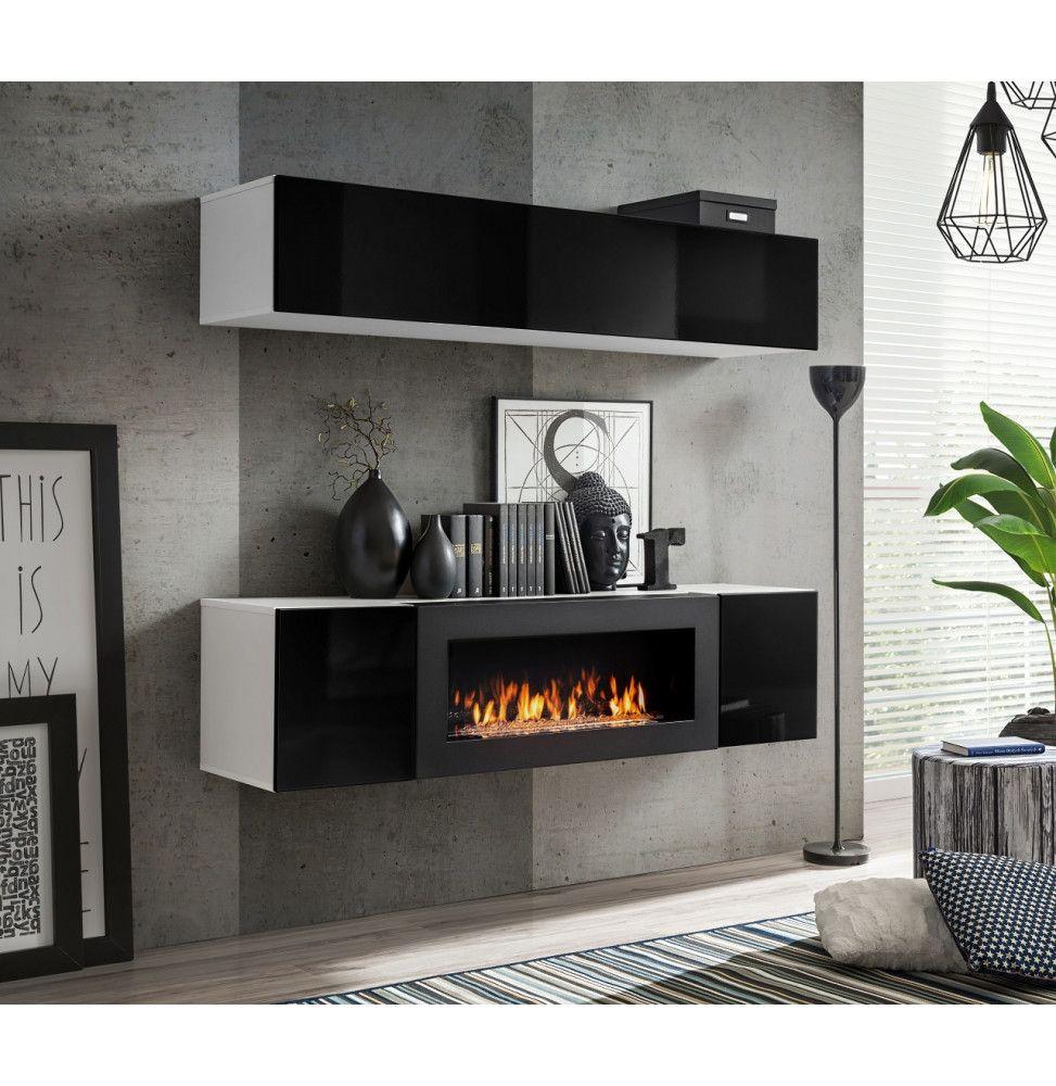 ensemble mural fly n 1 rangement mural 1 meuble tv blanc et noir
