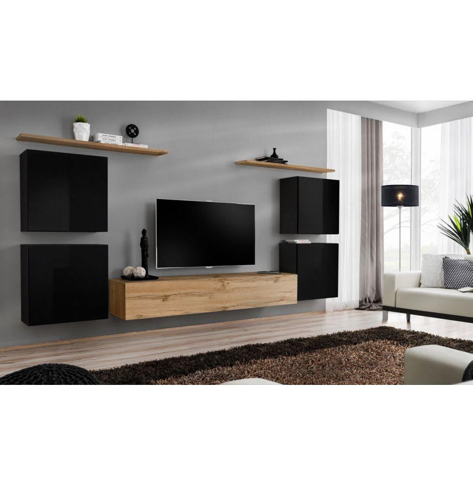 ensemble mural switch iv 1 vitrine 1 banc tv 2 etageres bois et noir modele 2