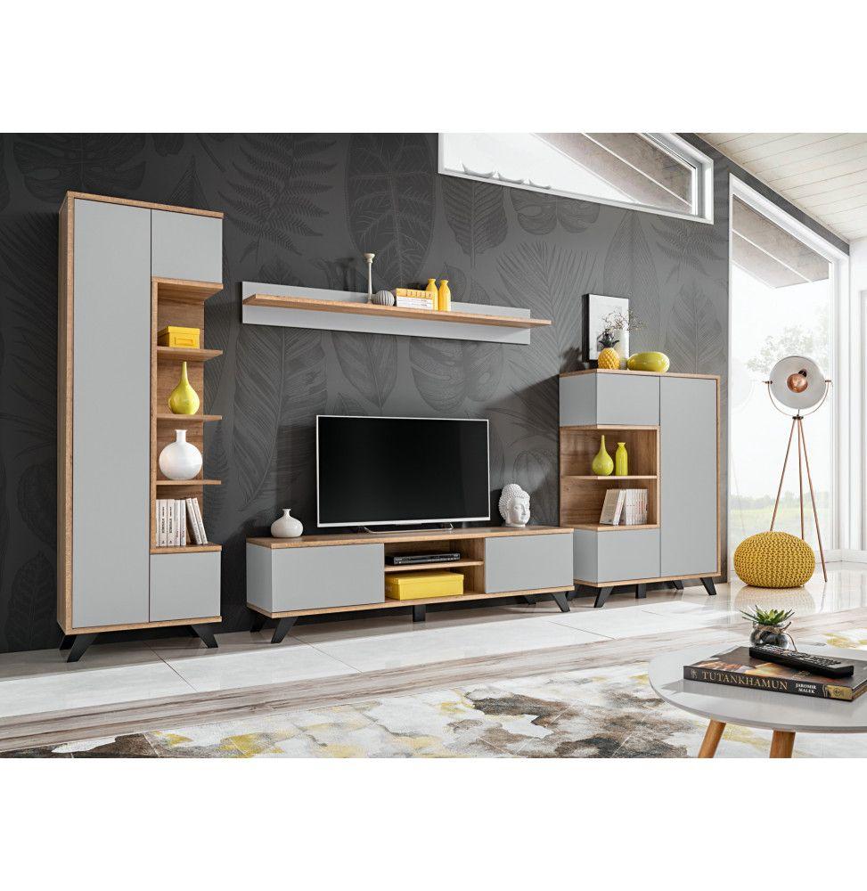 ensemble de meuble tv bogota l 330 x p 45 x h 192 cm beige et blanc