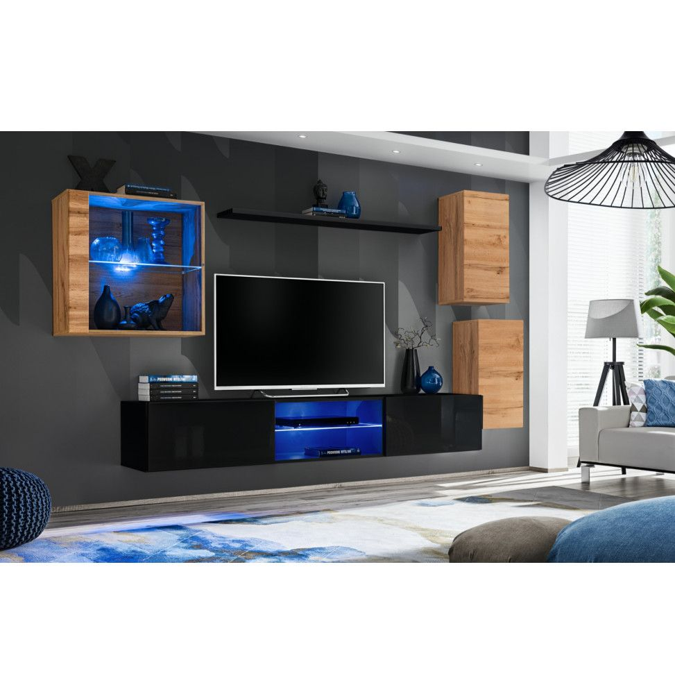 ensemble meuble tv mural switch xxiii l 250 x p 40 x h 140 cm noir et marron