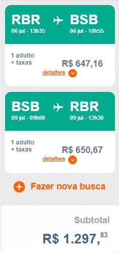 Trecho da Gol de Rio Branco para Brasília no valor de R$ 1.297,833 (ida 6 de julho e volta 9 de julho)