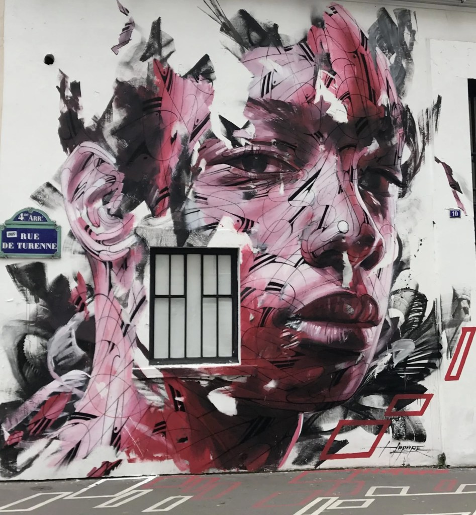 Street art depicting Face affected by stress. Le Marais, Paris