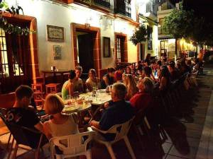 dinner in a tapas bar with group of language students