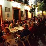Dinner in a tapas bar in the pedestrian street of Prado del Rey with a group of students studying Spanish, English and German