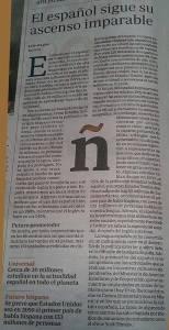 Artículo en el ABC del domingo 29/06/2014 sobre la importancia del idioma español a nivel mundial