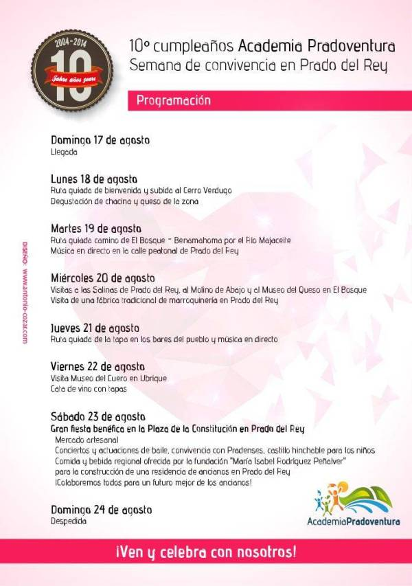 Fiesta 10º cumpleaños Academia Pradoventura programación