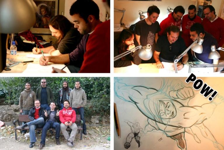 Cursos de comic en academia c10. Alumnos en accion.