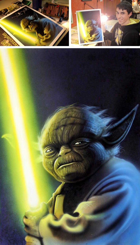 Yoda. Ilustración de aerografía.