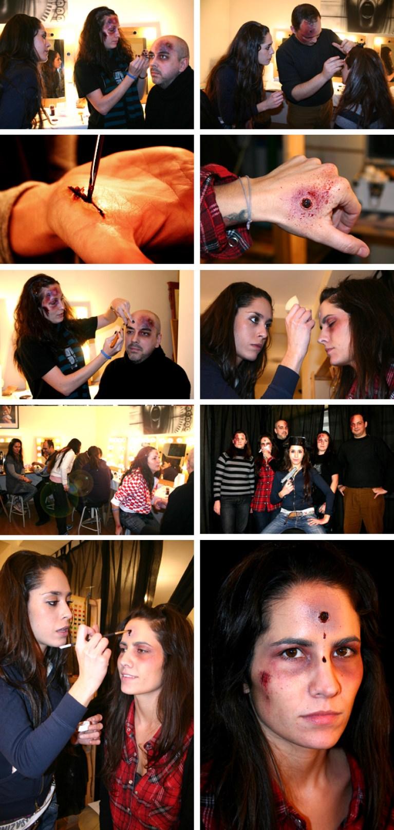 Alumnos de Fx de Maquillaje, trabajando.