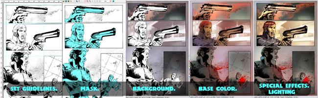 Robocop en cursos de comic de color digital en academia C10 de Madrid.