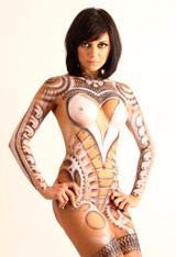 Body painting. Trabajo de aerografia. Ilustracion de Carlos Diez en Academia C10.