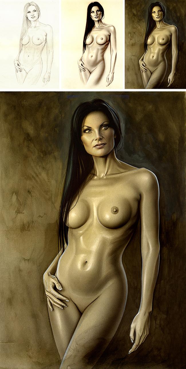 Elena Plaza modelo pin up para ilustracion de aerografia de Carlos Diez.
