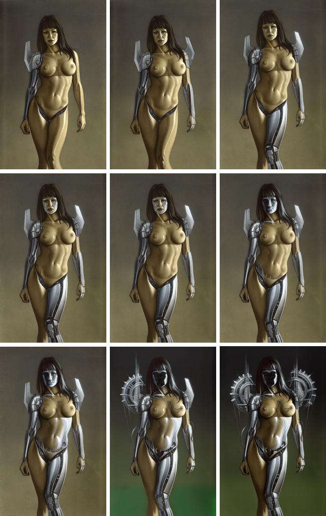 Ginoide Gizane Sastre. Sexy ilustración en aerografia por Carlos Diez. Madrid. Academia C10.