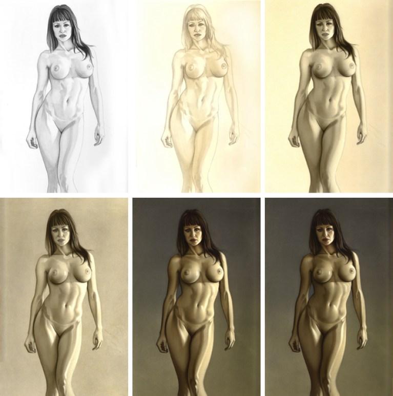 Ginoide Gizane Sastre. Sexy ilustración en aerografia por Carlos Diez. Academia C10.