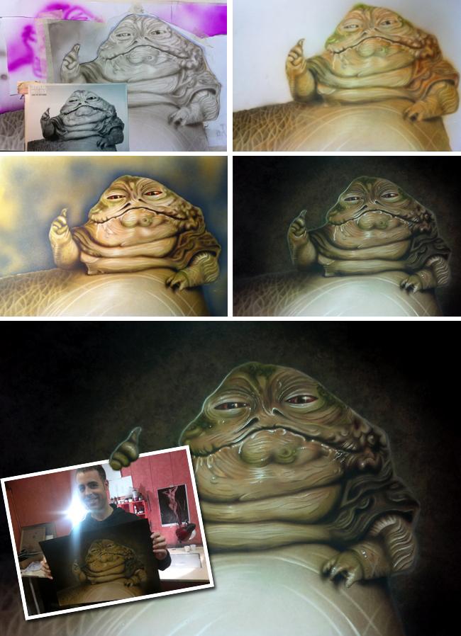Jabba star wars ilustracion aerografia trabajo alumno academia c10