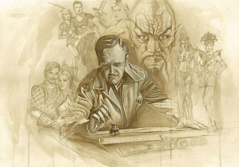 ilustracion de Alex Raimond y Flsah Gordon. Dale Arden. principe Barin. Dibujo de comic.Ming El Cruel. Autor Carlos Diez.