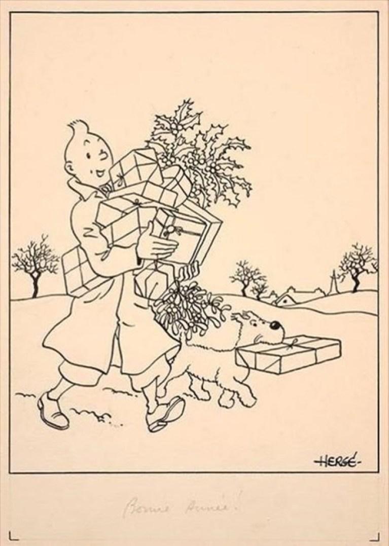 ICULT Postales de Tintin que van a subastarse en Paris en la casa Artcurial Copyright Herge Moulinsart 2016