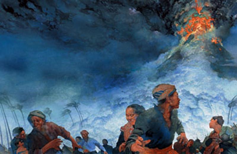 kliping bencana alam Ilustrasi Ledakan Gunung Tambora