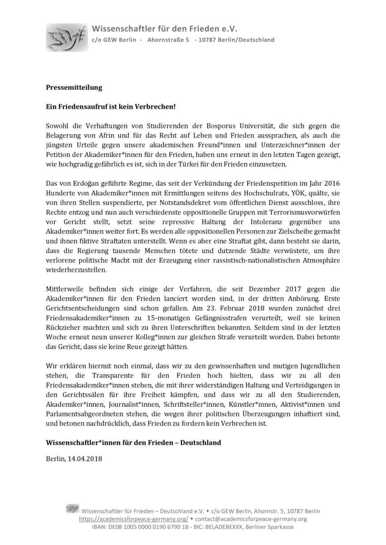 Read more about the article Ein Friedensaufruf ist kein Verbrechen!