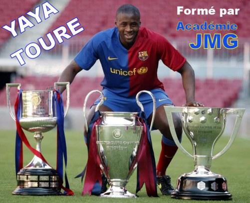 Yaya toure académie de soccer JMG de la cote ivoire avec FC Barca un des seuls joueurs au monde à avoir accompli le septuplé 7 Coupes et Championnats la même année avec le FC BARCA