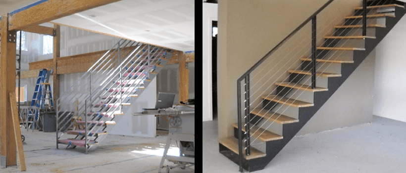 Double Stringer Steel Staircases With Wood Treads In Nyc Ct | Steel Stair Stringer Design | Structural | Simple | Step | Free Standing | 3 4 Wood Stringer