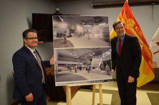 L'ensemble du projet de rénovation et d'agrandissement de l'hôpital sera achevé d'ici décembre 2023. La photo nous montre Victor Boudreau et Brian Gallant. - Acadie Nouvelle: Vincent Pichard