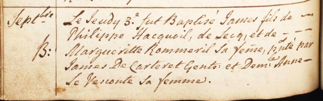 Acte de baptême de James Hacquoil, le 3 septembre 1767, à Saint-Ouen. – Rg anglican de Saint-Ouen (Jersey)