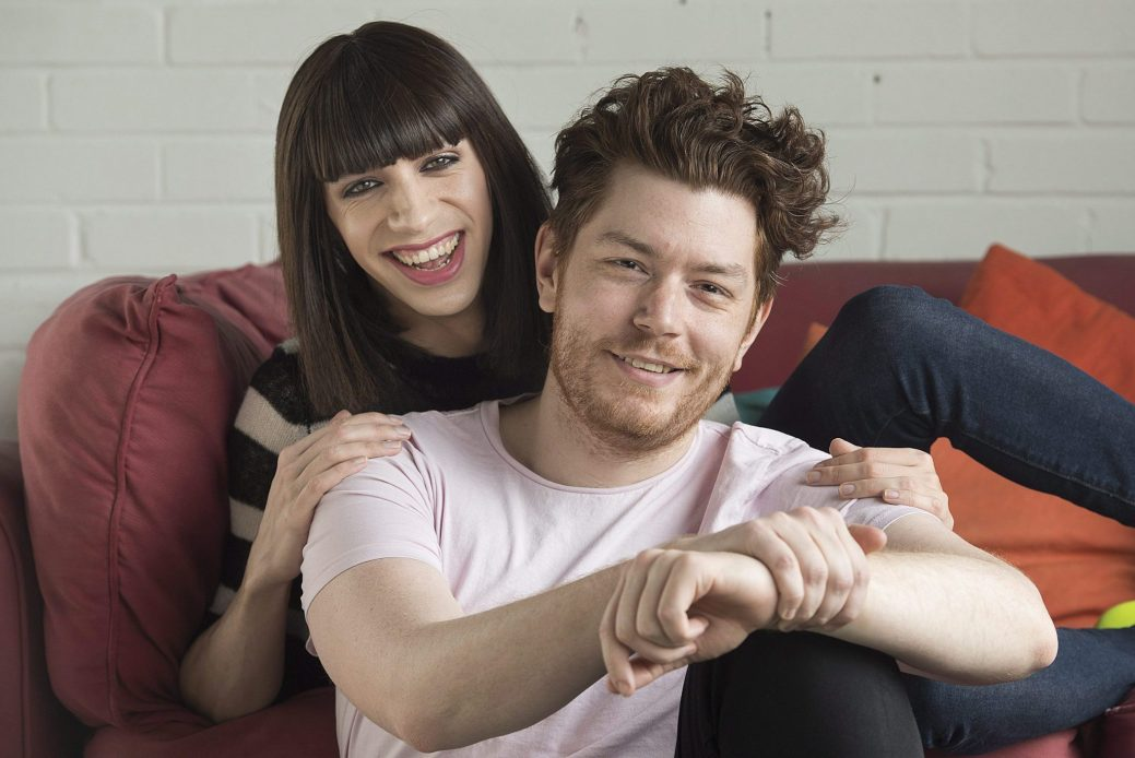Hosts of the podcast, Chosen Family, Thomas Leblanc, right, and Tranna Wintour, pose in Montreal, Friday, March 23, 2018. THE CANADIAN PRESS/Graham Hughes