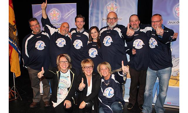 La délégation de la candidature de Miramichi pour l'organisation de la 39e Finale des Jeux de l'Acadie de 2018 avait célébré leur victoire en 2015. - Archives
