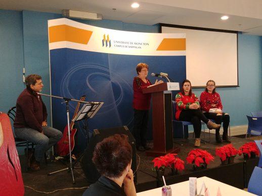 La présidente d'honneur, Alice Finn, a livré le discours d'ouverture. - Acadie Nouvelle: Guillaume Cyr