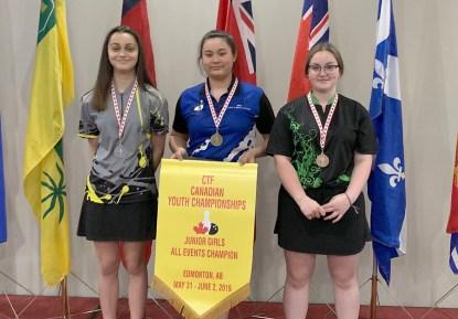 Kyana Brideau (à gauche) en compagnie de la Québécoise Mei-Yen Lachapelle et l'Ontarienne Ema Bowen pour la totalité des épreuves pour les joueuses d'âge junior. - Gracieuseté