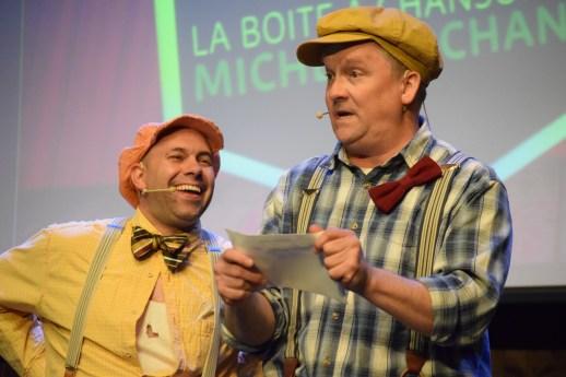Peigne (André Roy) et Citrouille (Luc LeBlanc) ont animé le gala lancement de saison au Pays de la Sagouine. - Acadie Nouvelle: Sylvie Mousseau