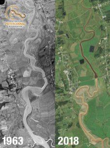 La rivière avant et après la contruction du pont-chaussée en 1973. - Gracieuseté