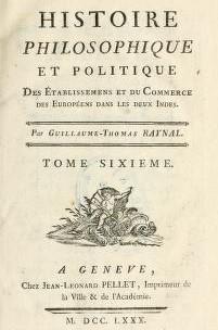 La page couverture du sixième tome du recueil de Raynal dans lequel il parle des Acadiens. - Gracieuseté