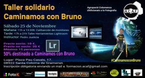 Cartel taller solidario con Bruno calibración de monitores y herramientas de Lightroom