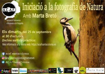 Curso de iniciación a la fotografía de naturaleza con Marta Bretó en ACAF Santa Coloma