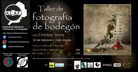 Taller de fotografía de bodegón con Cristina Serra en ACAF Santa Coloma