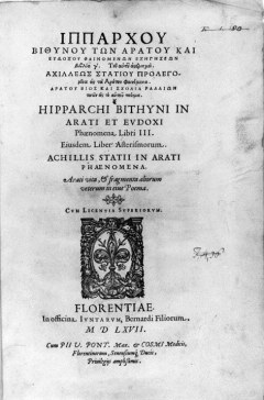 Title page of Aratus and Eudoxus.Image by kind permission of the Master and Fellows of Trinity College Cambridge.