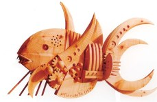 Pesce - scultura in legno 19x13x13