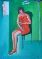 donna seduta 50x70