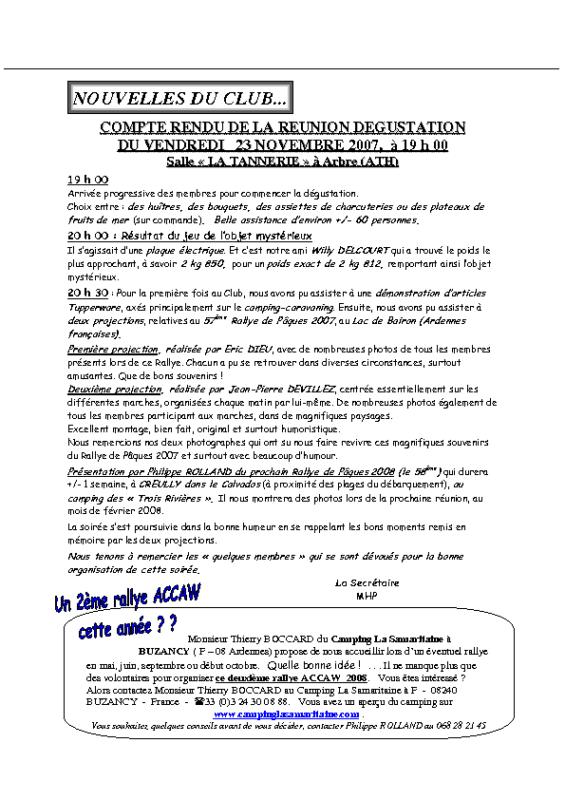 Réunion Dégustation – 23 novembre 2007