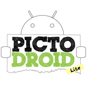 Picto de un android sosteniendo el cartel con la leyenda PictoDroid Lite.